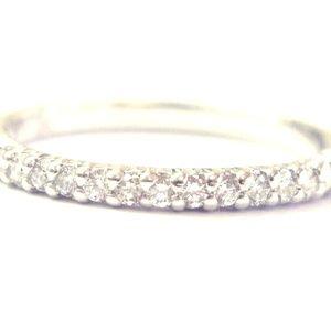 Jewelry - Platinum Round Cut Diamond 15-Stone Band Ring .30C